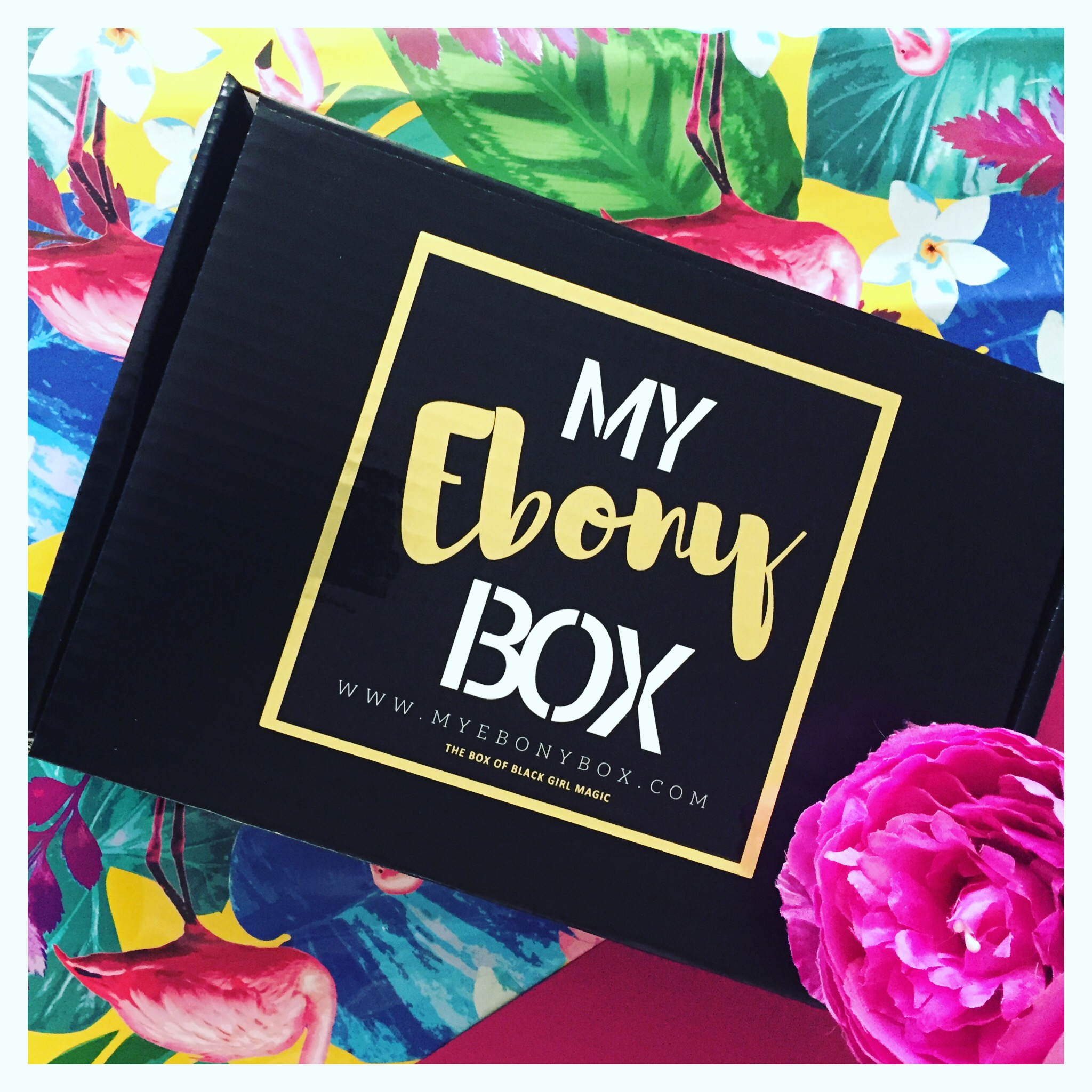 My Ebony Box 0427 subscription box packaging with label