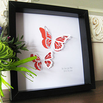Picture with two red butterflies in a black frame