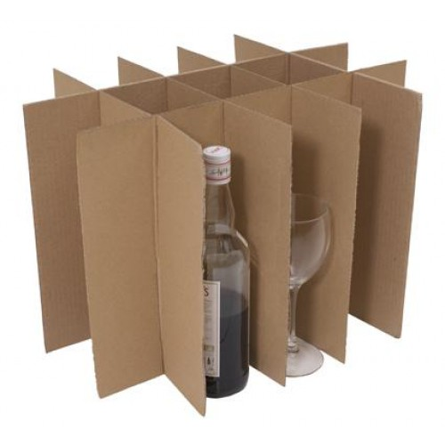 cardboard divider containing multiple bottles