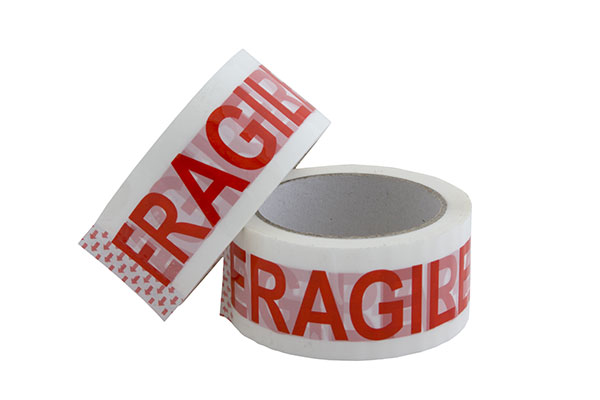 two rolls of tape marked fragile.