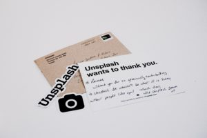 An example of a branded thank you note from Unsplash